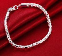 925 Sterling Silver Bracelet Womens Opulent Round Box Link Chain +GiftPkg  D472G