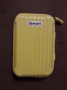 BASN Head phone firm shell Carry Case YELLOW. 2 internal net pockets. Zip closur