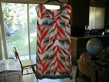 Calvin Klein Womens Orange & Blue Print Dress SZ Medium NWT Original Price $98