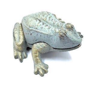 Cast Iron Frog Key Hider Holder Rustic Garden Decor Statue Large