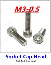 M3-0.5 Hex Socket Cap Head Screw Bolt 304 Stainless Steel DIN912 25/50/100pcs