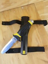 UK Blue Tang Blunt Tip Scuba Dive Knife w/Sheath & New Straps HYDRALLOY