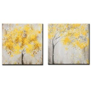 Flowers Blossom Tree Canvas Wall Art Picture Printing Decor Set of 2 Yellow#SOH