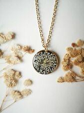 Handmade cute real flowers resin necklace real pressed flower jewellery UK gift