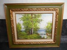 Old Vtg OIL PAINTING on CANVAS Landscape Waterfall Scene Artist Signed I.CAFIERI