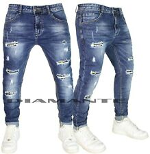 Jeans Uomo Denim Pantaloni Strappati Elasticizzati Foderati Design 2212