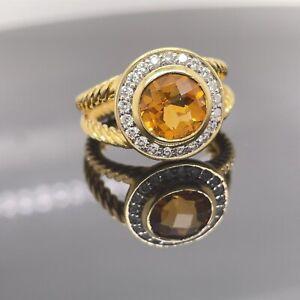 David Yurman 18k Yellow Citrine & Diamond Ring Sz 5 / Retail $3400