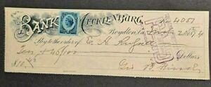 1894 BANK OF MECKLENBURG BOYDTON VA $10.46 CHECK  W/REVENUE STAMP!-d4392unx