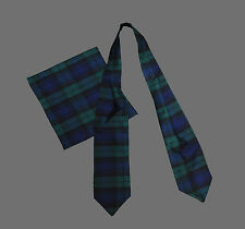 BLACKWATCH TARTAN Poly Cotton Ascot CRAVAT Neck Tie Scarf & Pocket Square