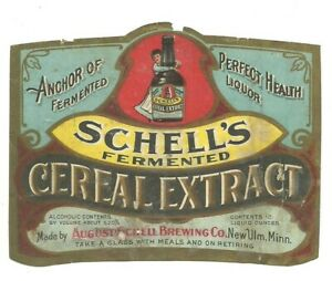 Schell 's Cereal Extract prepro beer label, New Ulm, MN, 5.2% alcohol, non- IRTP