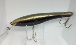 """VINTAGE Bagley Diving Bang O B #8 Black with Gold Back GO 7 5/8"""" All Brass Lure"""