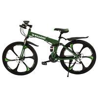 Folding Mountain Bike 21 Speed Bicycle Unisex 26inch Suspension MTB Bikes, Green