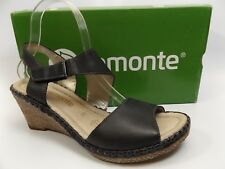 REMONTE D6743 Ursula 43 Wedge BLACK Leather Womens Sandals US 8.0 M NEW D5994
