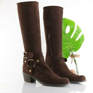 Pollini Way Out Riding Boot Tall Chocolate Brown Suede Block Heel Women 39 US 8