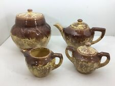 Vintage Mid Century Lot of 4 Pcs Gonder Pottery Cookie Jar Tea Pot Sugar Creamer