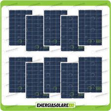 Set 10 Pannelli Solari Fotovoltaici 80W 12V multiuso Pmax 800W Baita Barca