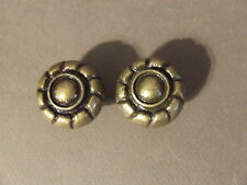 PAIR OF ANTIQUE BRASS COLOR METAL ROUND BRAIDED ROPE DRAWER PULL HANDLE KNOBS