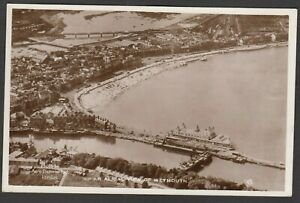Postcard Weymouth Dorset aerial view of town and beach etc RP