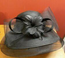 Giovannio Kentucky Derby Church Hat Womens Black Sheer Flower  Wide Brim