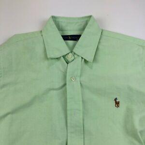 Polo Ralph Lauren 16/34 Medium Oxford Green Button Front Long Sleeve Dress Shirt