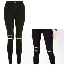 Ladies New Look High Waist Super Skinny DOUBLE Ripped Jeans Sizes 8 - 16 Leg 34