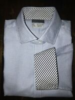 Men's THOMAS DEAN Blue Houndstooth Check Dress Casual Shirt XXL-TTG Flip Cuff LS