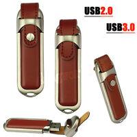 Pen Drive Chiavetta USB 3.0 128GB Metallo Vera Pelle Flash Memory Stick U Disk