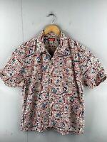 Union Bay Men's Vintage Short Sleeve Hawaiian Shirt Size M Red Grey Floral