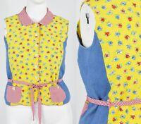80s Vintage Novelty Patchwork Peplum Top Gingham Shirt Womens Large F. L. Malik