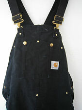 No Longer Sold In Stores - CARHARTT R01 Black Overalls - Made in USA sz 42X30