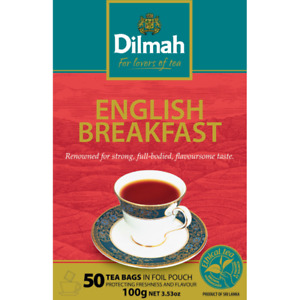 Dilmah English Breakfast Black Tea 50 Bags 100g Single Origin Pure Ceylon Tea