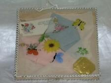 Vintage Boxed Trio Colorful Swiss Silk Embroidered Floral Handkerchief Set