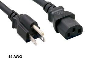 Kentek 10 Ft SJT US AC Power Cord NEMA5-15P/IEC320 C13 14AWG 15A 125V Heavy Duty