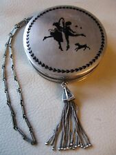 Antique Art Deco STERLING SILVER Silhouette Boy Girl Dog Bar Chain Purse Compact