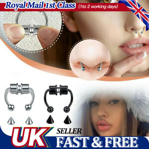 Non Piercing Magnetic Nose Ring Fake Septum Segment Helix Tragus Faux Clicker UK