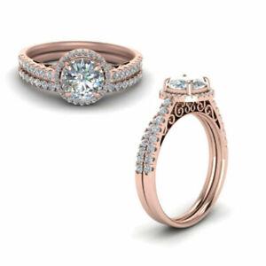1.57 Ct Round Cut Diamond Wedding Band Set Solid 14 K Rose Gold Rings 6 7 8