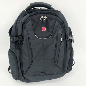 Swiss Gear Backpack Black Gray Laptop Tablet Sleeves UBS Port Padding 5-6 Books
