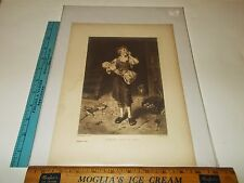 Rare Antique Original VTG  c 1890 Hunger Hath No Ears Gilbert Etching Art Print