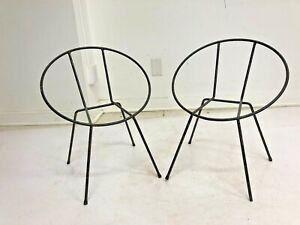 MID CENTURY MODERN Hoop Chair Pair child kid vintage mcm Jon Hauser wrought iron