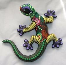 "Ceramic Clay Lizard Salamander Figurine Hand-painted Mexican Wall Art 10"" L15"