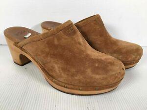 UGG Brown Suede Women's Block Heel Slip On Platform Mules Size 9