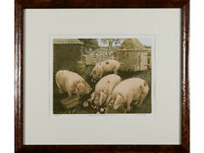 'Gloucester Old Spot Picnic' - Limited Edition Signed Aquatint Print. Pigs, Farm