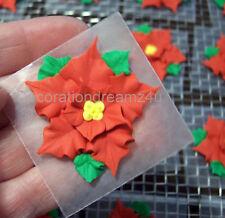 """10-1 1/2"""" Sugar Royal Icing Edible Christmas Flower Cake Cupcake Wedding Handmad"""