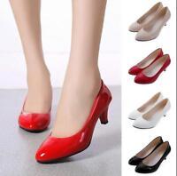 Women Ladies Low Mid High Kitten Heel Work Casual Smart Court Shoes Pumps IUK