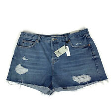 NWT TOPSHOP MOTO Ashley Denim Shorts Sz US 10 Ripped Distressed Raw Hem