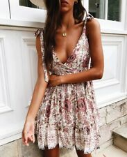 Sexy V-neck Women Flower Sleeveless Backless Cocktail Party Beach Mini Dress