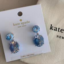 Kate Spade ~ Double Drop Earrings ~ Light Sapphire Blue Crystal NWT & Pouch