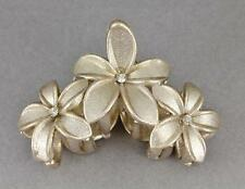 "Gold sparkly hair clip claw butterfly clamp flower floral plumeria 3.5"" long"