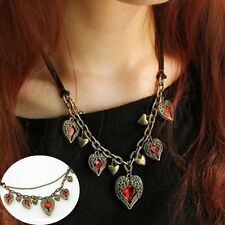 Ruby Crystal Heart Short Leather Chain Sweater Necklace  Accessories