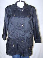 Fleet Street Black Long Sleeve Zipper Button Jacket Womens Size Medium 8 10